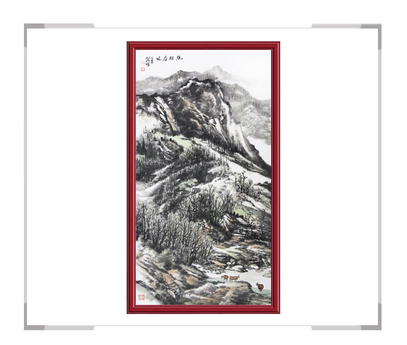 中国美协会员翟晖作品-竖幅山水画第一款