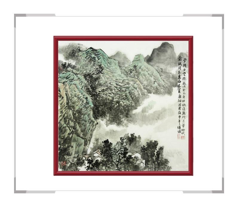 中国美术家协会会员张复兴作品-斗方山水画