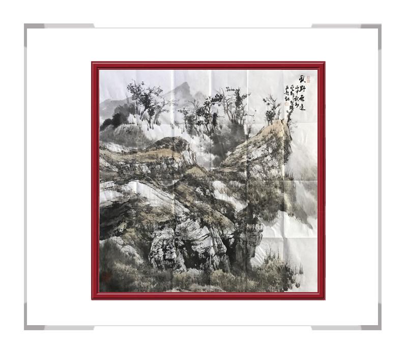 中国美术家协会会员白云乡-斗方山水作品