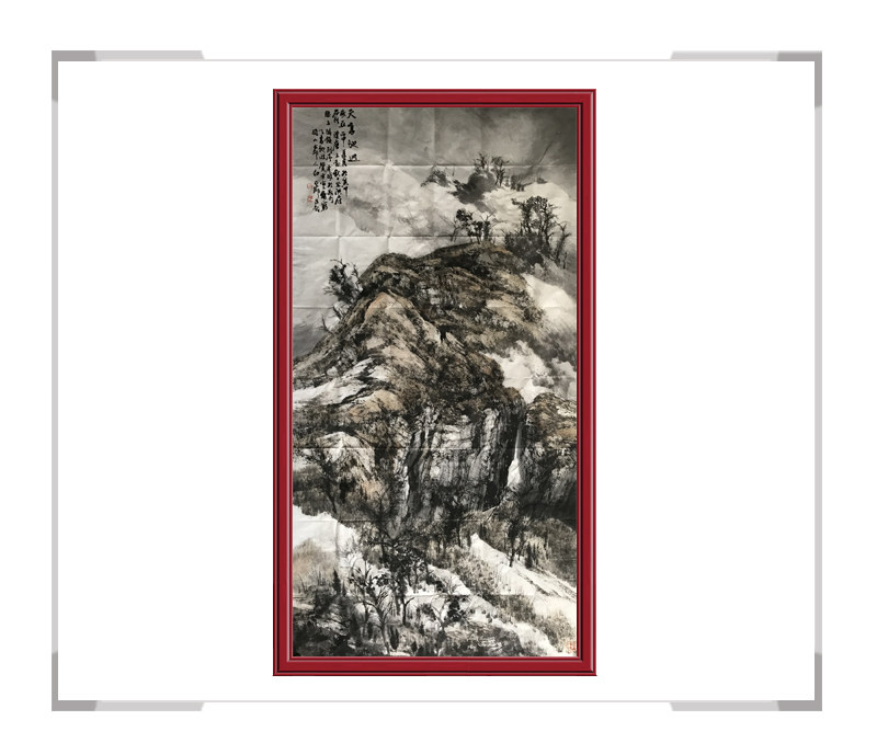 中国美术家协会会员白云乡作品-竖幅山水画