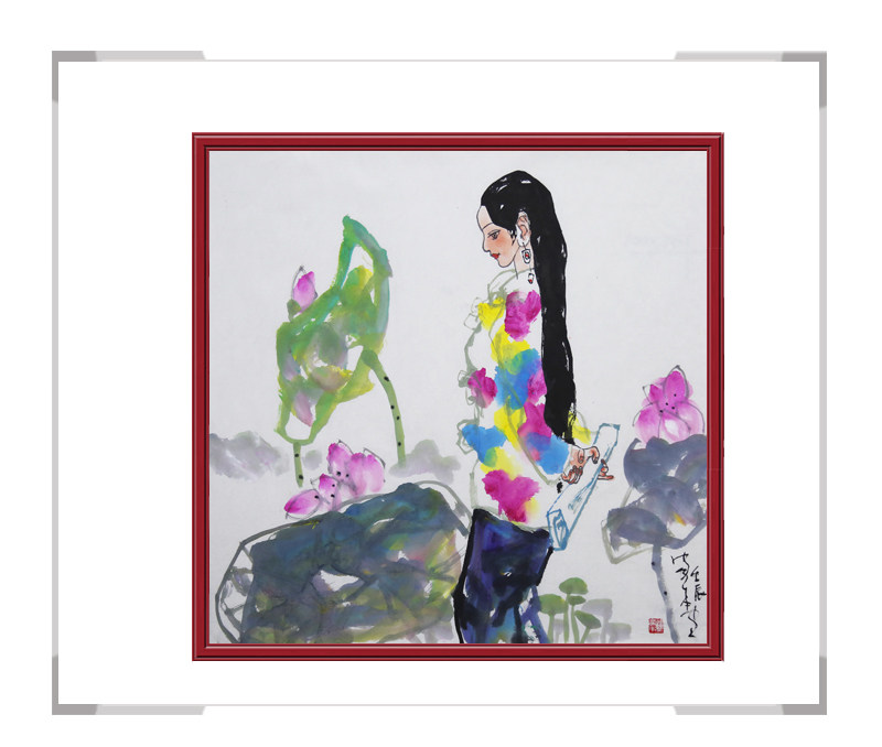 中国美术家协会会员楼家本-斗方美女人物画作品一
