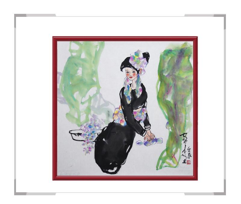 中国美术家协会会员楼家本-斗方美女人物画作品二