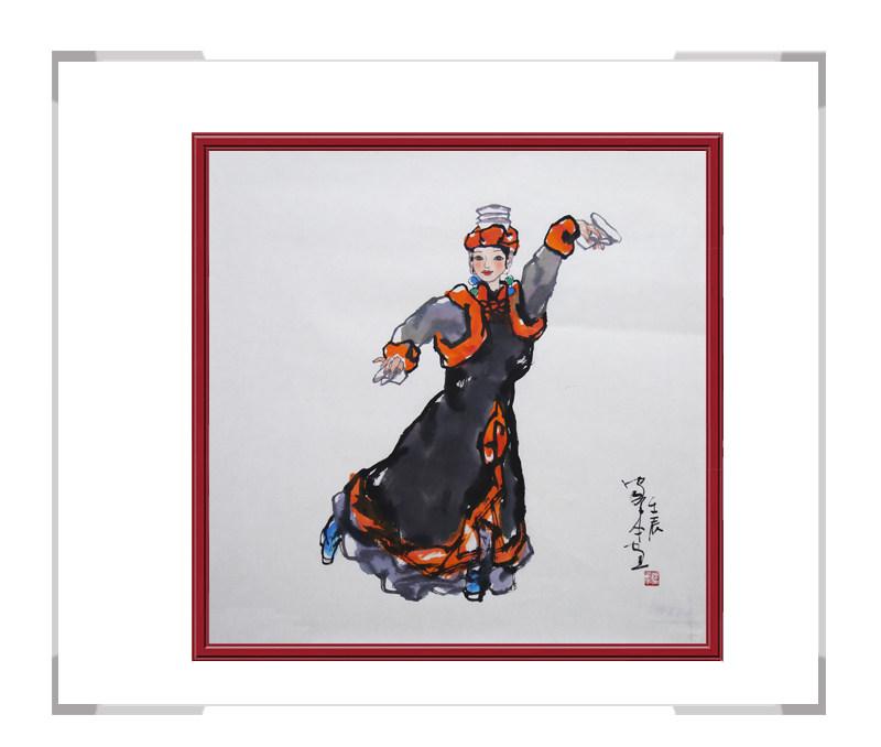 中国美术家协会会员楼家本作品-美女人物画斗方第一款