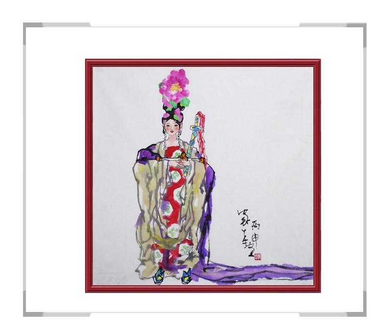 中国美术家协会会员楼家本作品-美女人物画斗方第二款
