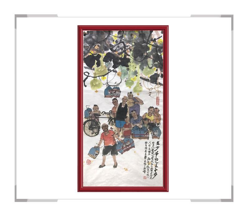 中国美术家协会会员马海方作品-人物风俗画竖幅