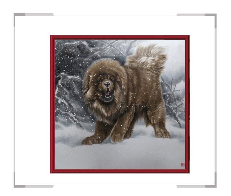 中国书画家协会理事张国良-斗方动物主题油画作品一