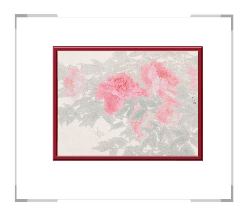中国美术家协会会员张合红-横幅花鸟画牡丹一