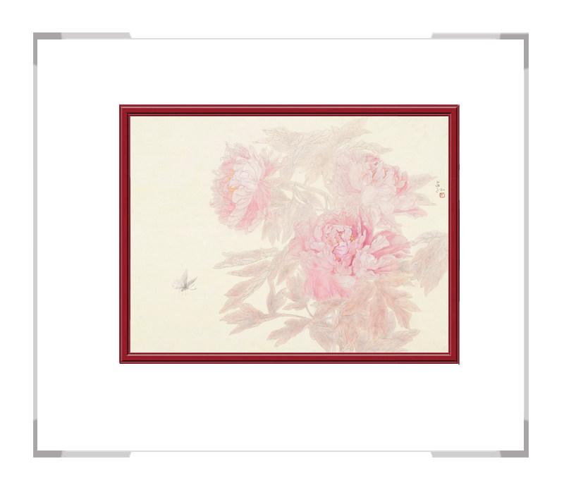 中国美术家协会会员张合红-牡丹五横幅花鸟画