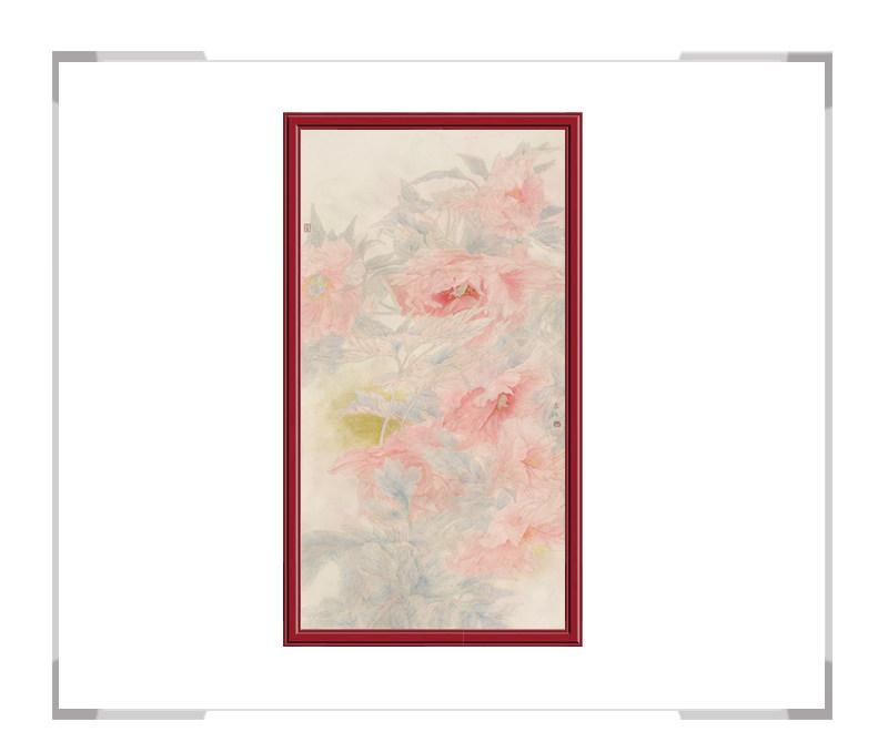 中国美术家协会会员张合红-花鸟竖幅牡丹系列一