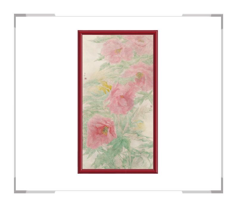 中国美术家协会会员张合红-牡丹系列竖幅花鸟画四