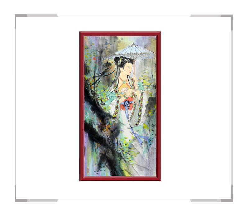中国美术家协会会员张怀月-古代美女人物画竖幅一