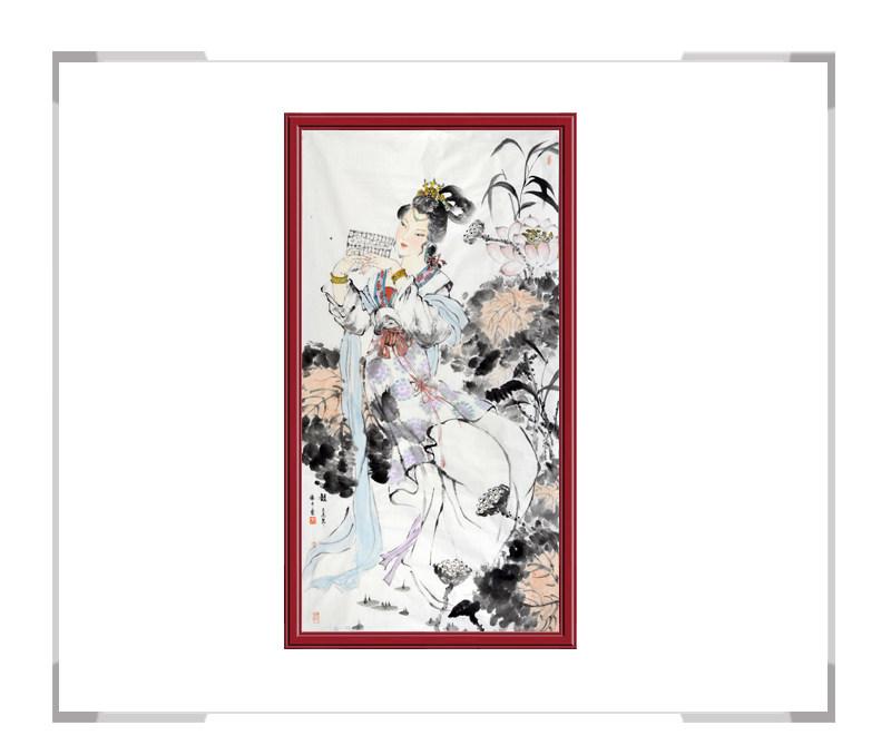 中国美术家协会会员张怀月-古代美女人物画竖幅二