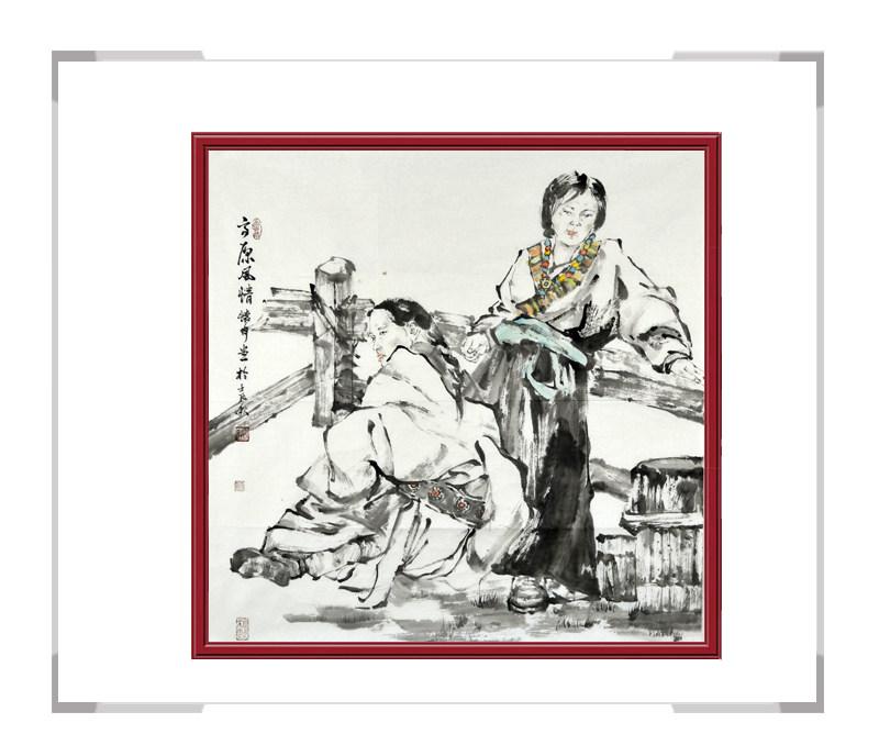 中国美术家协会会员张怀月-斗方美女人物画第一款