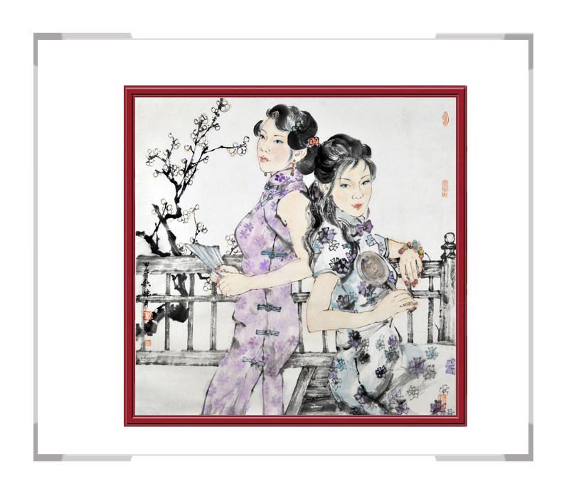 中国美术家协会会员张怀月-斗方美女人物画第二款