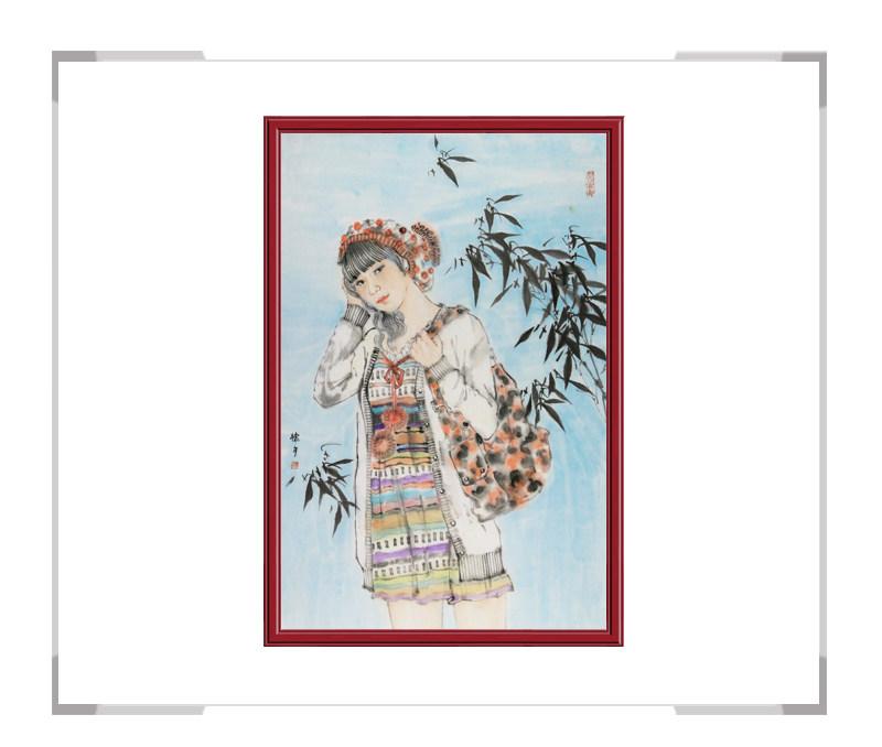中国美术家协会会员张怀月作品-现代美女竖幅人物画