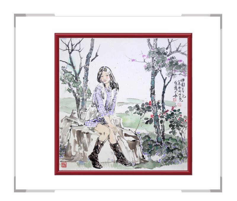 中国美术家协会会员张丽华-斗方人物画第二款