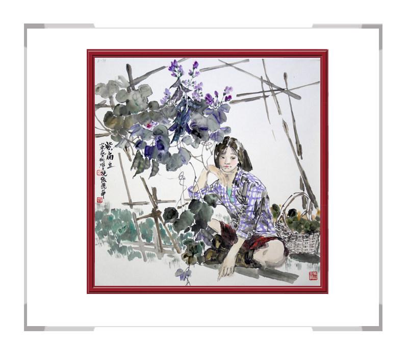 中国美术家协会会员张丽华作品-斗方人物画第二款