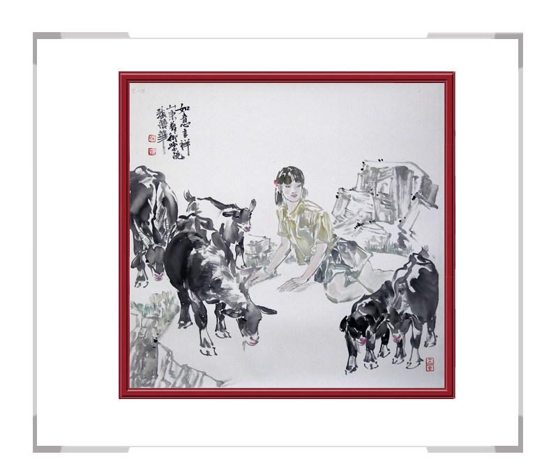 中国美协会员张丽华老师作品-斗方人物画第三款