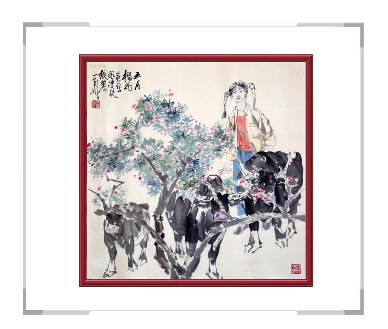 中国美术家协会会员张丽华老师-斗方人物作品二