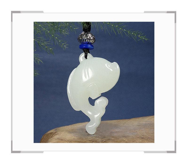 和田玉白玉海豚吊坠 带绳