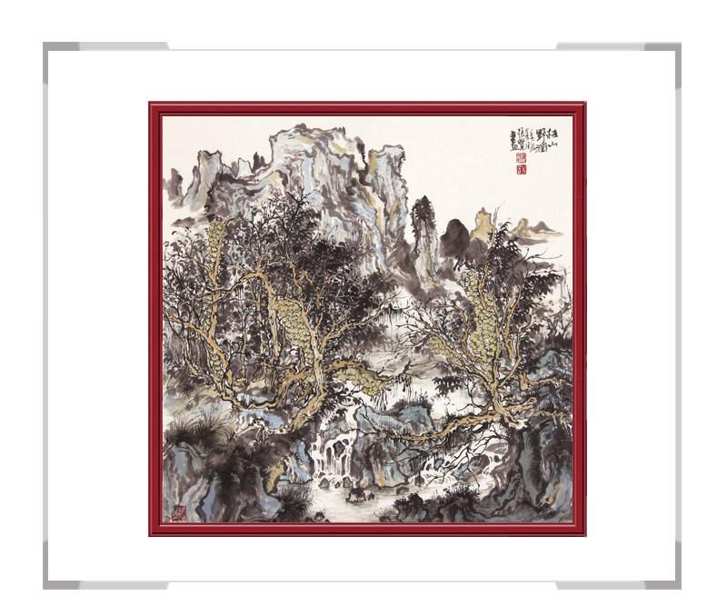 中国美术家协会会员张贤-斗方山水画二桂山野润