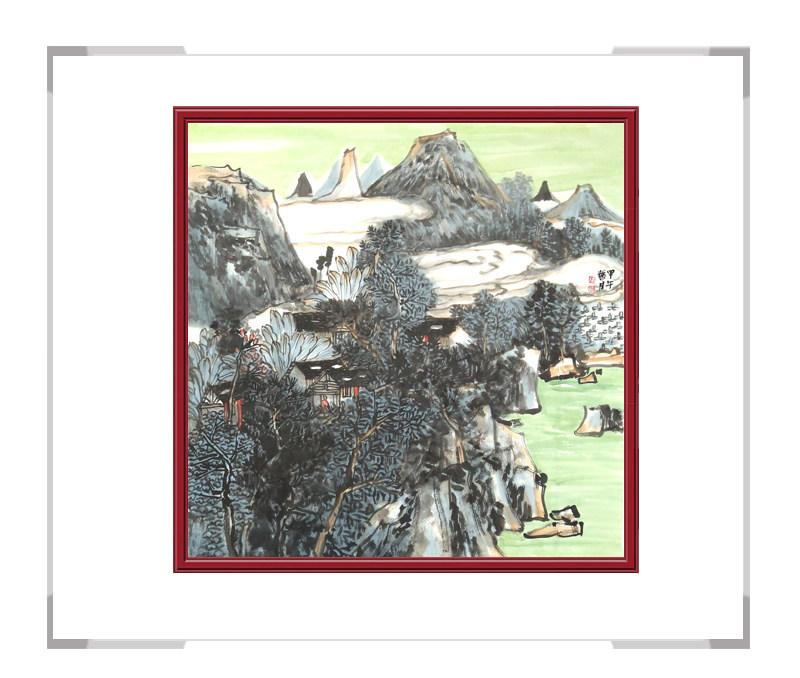 中国美术家协会会员画家张馨月-彩色山水画作品三