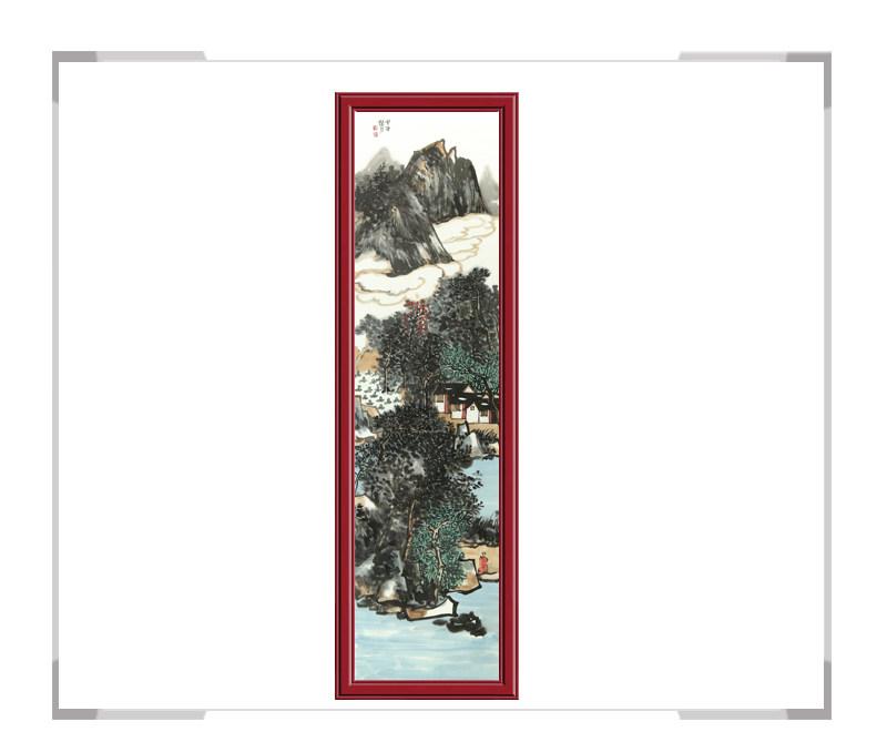 中国美术家协会会员张馨月-彩色竖幅山水作品一