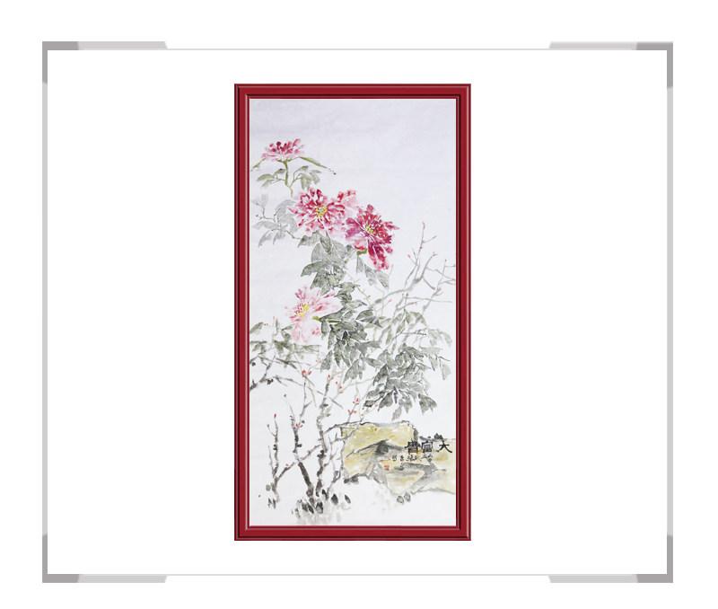 中国美术家协会会员张秀萍-竖幅花鸟作品牡丹