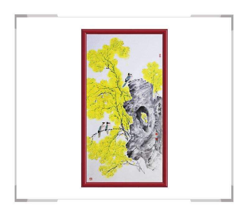 中国画家协会理事周同祥-竖幅花鸟画作品一