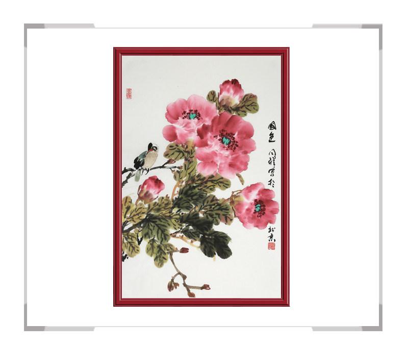 中国画家协会理事周同祥作品-竖幅花鸟画第一款