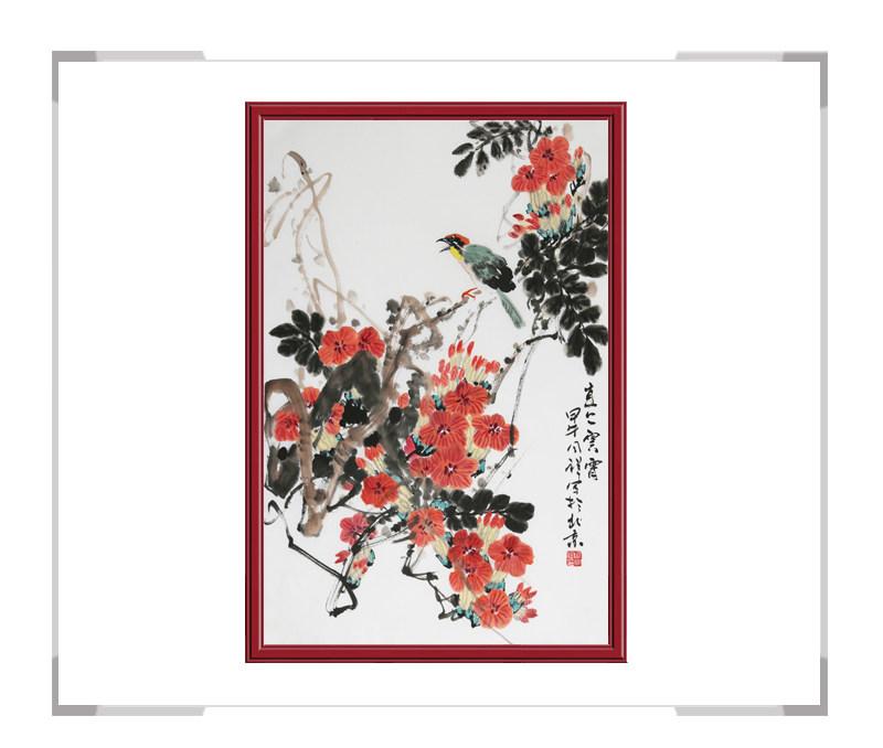 中国画家协会理事周同祥作品-竖幅花鸟画第二款