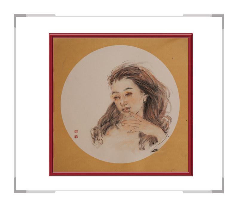 中国美术家协会会员葛琪-团扇现代美人画一