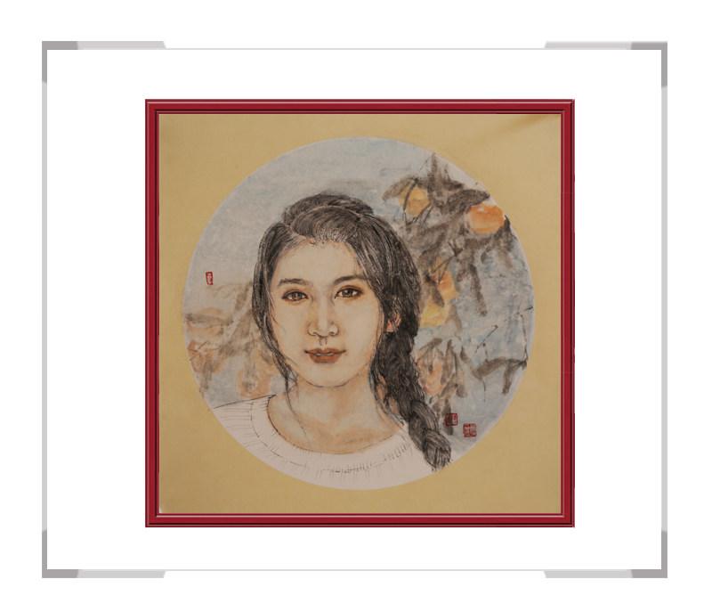 中国美术家协会会员葛琪-团扇现代美人画二