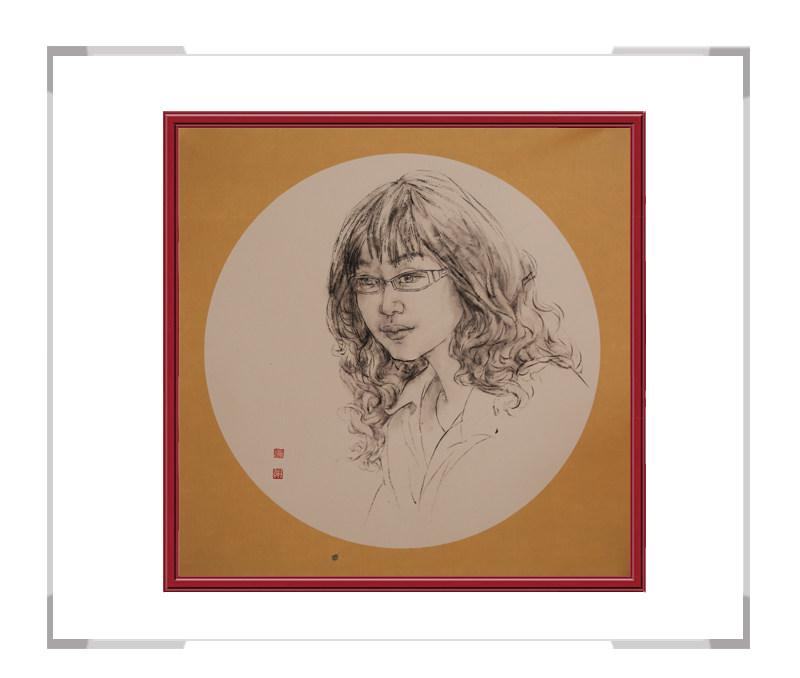 中国美术家协会会员葛琪-团扇现代美人画三
