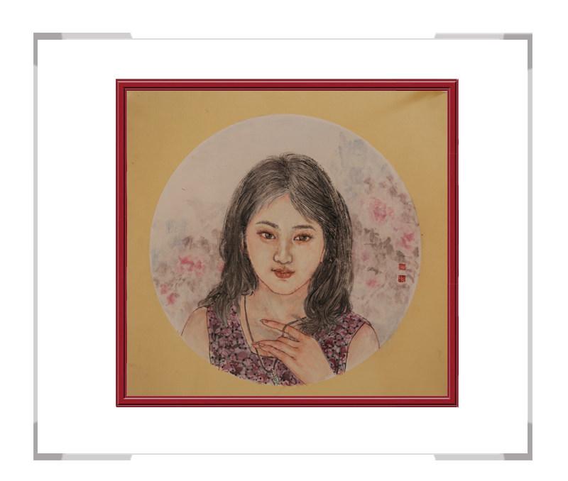 中国美术家协会会员葛琪-团扇美人作品一