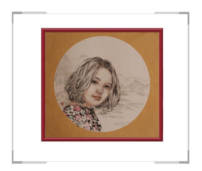 中国美术家协会会员葛琪-团扇现代美人作品一