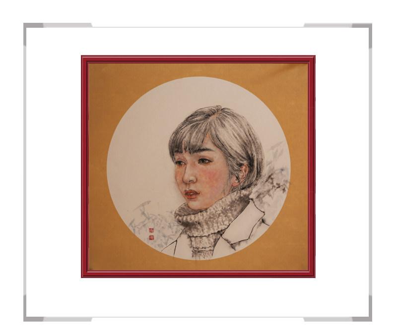 中国美术家协会会员葛琪-团扇现代美人作品二