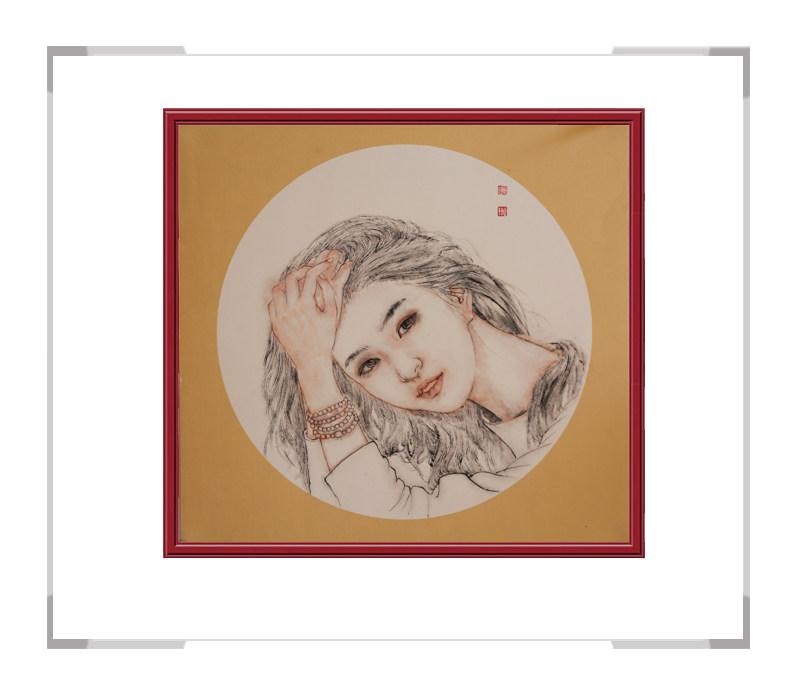 中国美术家协会会员葛琪-团扇现代美人作品三