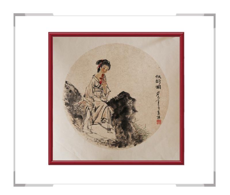 中国美术家协会会员葛琪-团扇古典美人画第一款