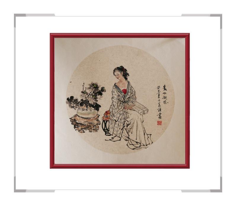 中国美术家协会会员葛琪-团扇古典美人画第二款