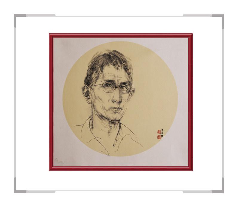 中国美术家协会会员葛琪-人物画男士团扇二
