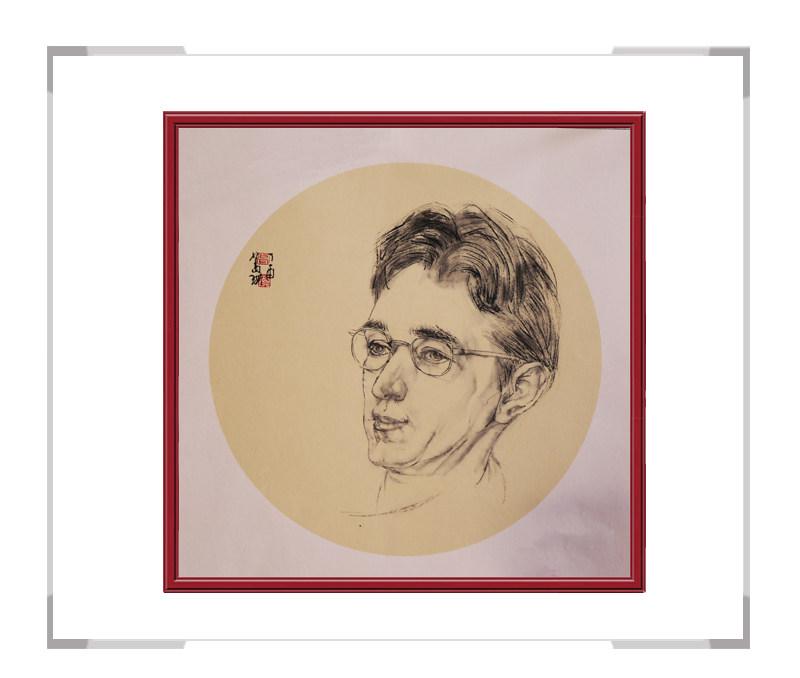 中国美术家协会会员葛琪-人物画男士团扇三