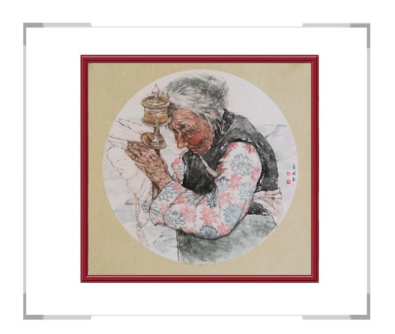中国美术家协会会员葛琪-团扇人物画之少数民族三