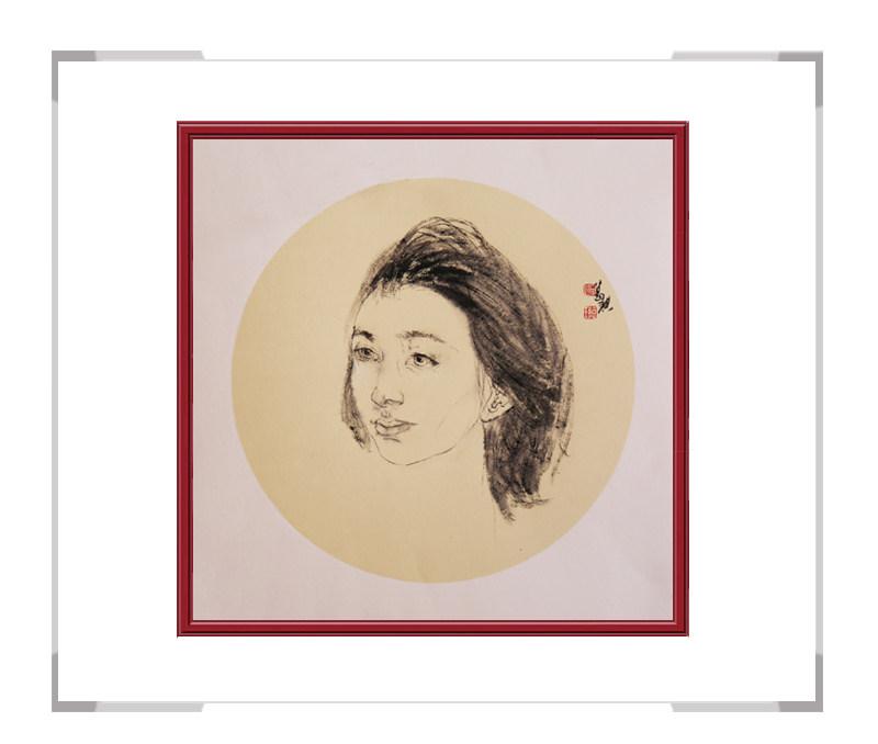 中国美术家协会会员葛琪-现代美人画团扇一