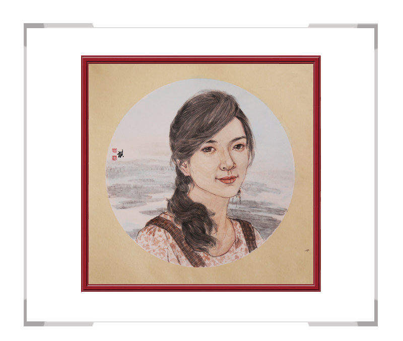 中国美术家协会会员葛琪-现代美人画团扇二