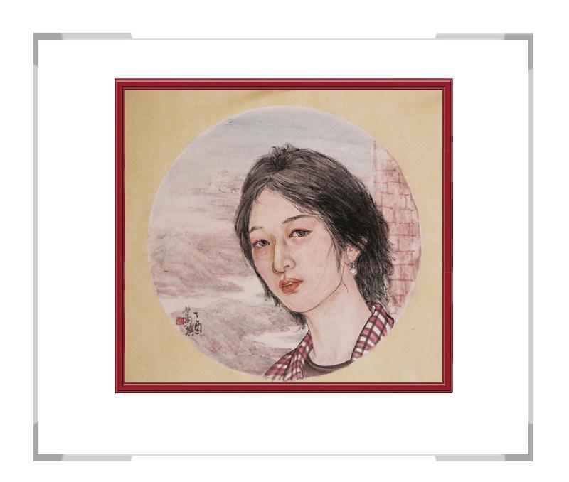 中国美术家协会会员葛琪-现代美人画团扇三