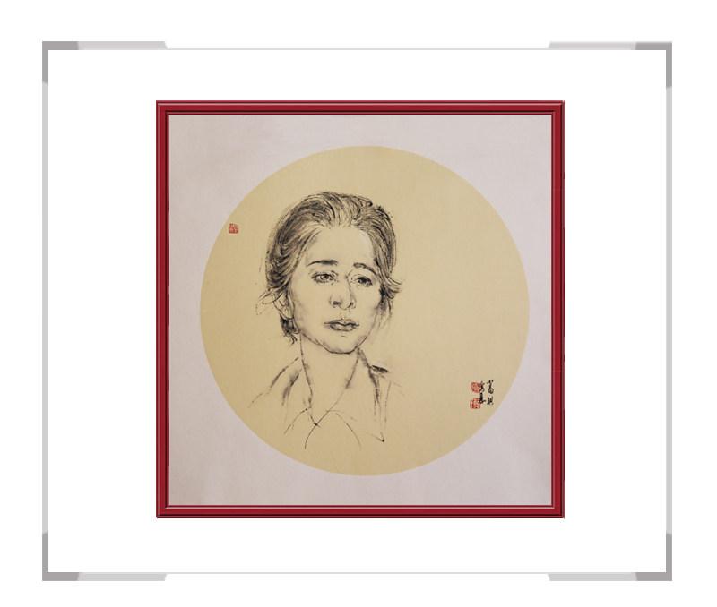 中国美术家协会会员葛琪作品-现代美人画团扇第一款