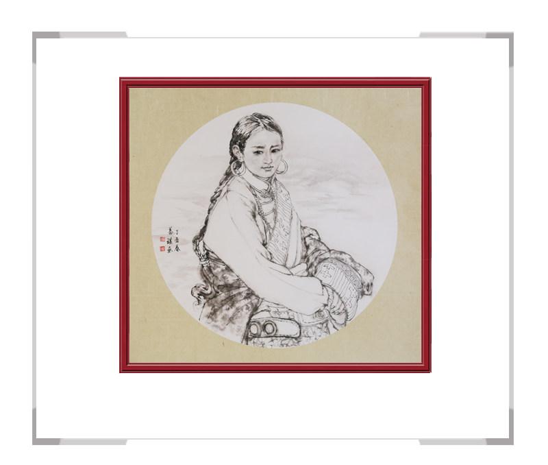中国美术家协会会员葛琪作品-现代美人画团扇第二款