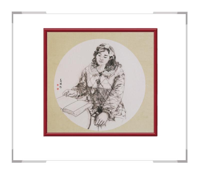 中国美术家协会会员葛琪作品-现代美人画团扇第三款