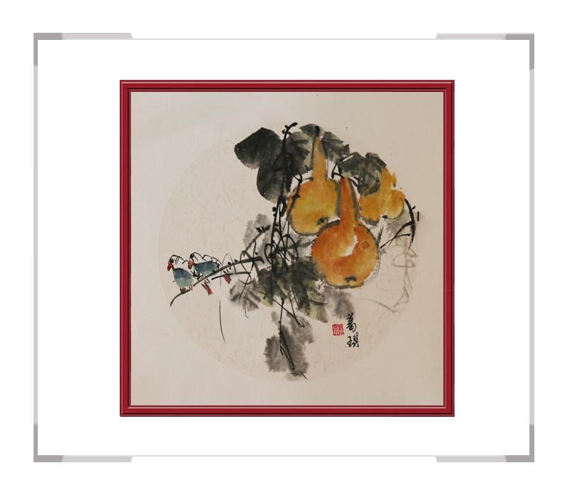 中国美术家协会会员葛琪作品-团扇花鸟画第二款